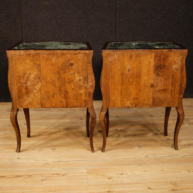 Inlay 20th Century Violet Wood Inlaid Pair of Italian Bedside Tables, 1920 For Sale