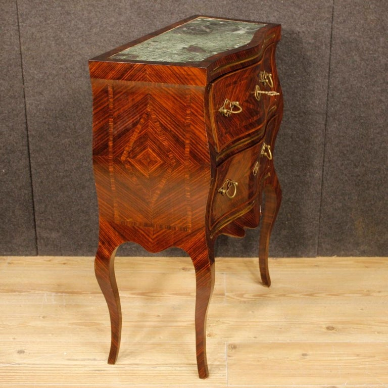 Brass 20th Century Violet Wood Inlaid Pair of Italian Bedside Tables, 1920 For Sale