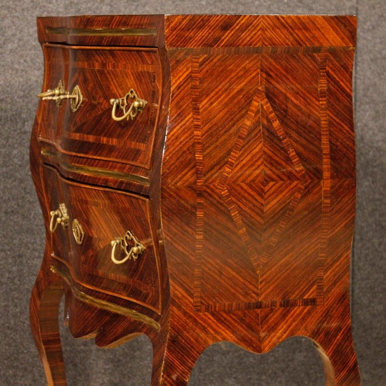 20th Century Violet Wood Inlaid Pair of Italian Bedside Tables, 1920 For Sale 2