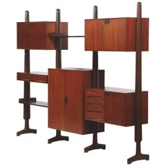 20th Century Vittorio Dassi Rosewood Bookcase with Shelves and Storage Cabinets