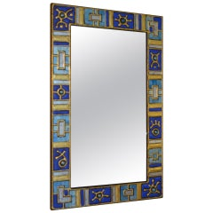 20th Century Wall Mirror Decorated with Glass Paste and Enameled Glass