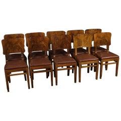 20th Century Walnut and Burl Italian Group of 10 Chairs, 1950