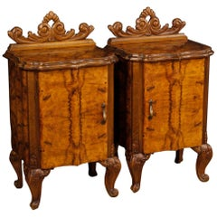 20th Century Walnut and Burl Wood Italian Pair of Bedside Tables, 1960