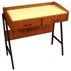20th Century Walnut and Metal Italian Design Writing Desk, 1970