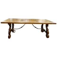 20th Century Walnut and Wrought Iron Table