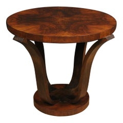 20th Century Walnut Burl and Beech Woods French Coffee Table, 1960