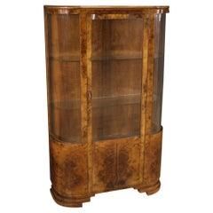 20th Century Walnut Burl Fruitwood Wood Italian Art Deco Style Display Cabinet