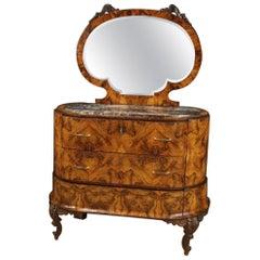 20th Century Walnut Burl Palisander Fruitwood Italian Dresser with Mirror, 1930