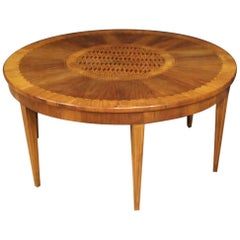 20th Century Walnut Cherry Maple Fruitwood Inlaid Italian Coffee Table, 1950