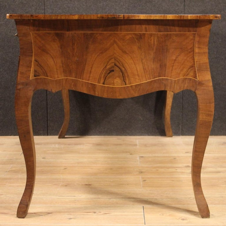 20th Century Walnut Maple and Fruitwood Italian Writing Desk, 1960 For Sale 6