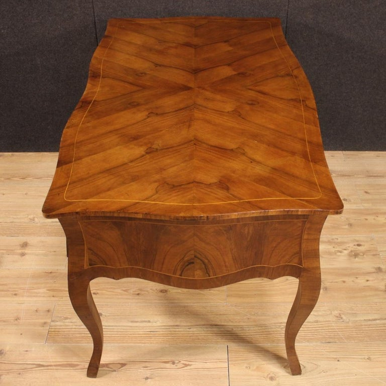 20th Century Walnut Maple and Fruitwood Italian Writing Desk, 1960 For Sale 7
