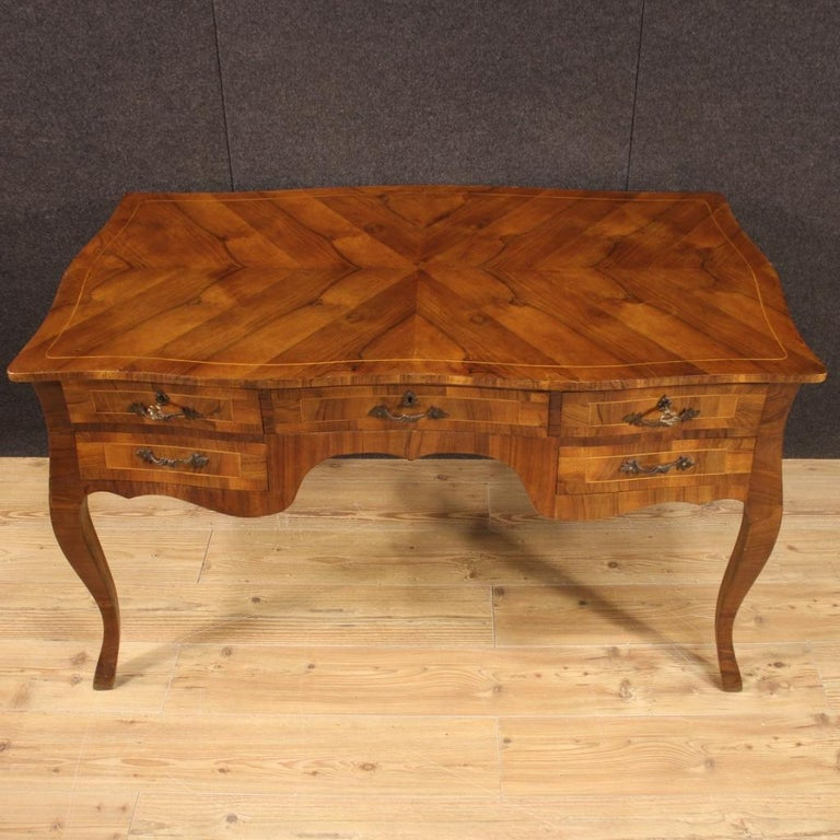 Wood 20th Century Walnut Maple and Fruitwood Italian Writing Desk, 1960 For Sale
