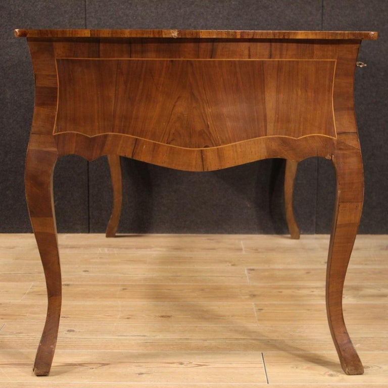 20th Century Walnut Maple and Fruitwood Italian Writing Desk, 1960 For Sale 3