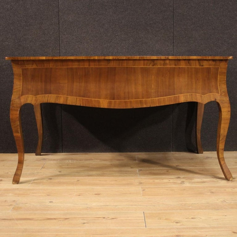 20th Century Walnut Maple and Fruitwood Italian Writing Desk, 1960 For Sale 4