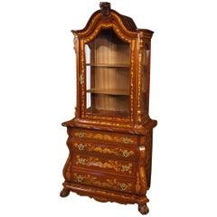 20th Century Walnut Maple Beech Inlaid Wood Dutch Display Cabinet, 1960