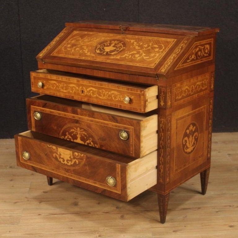20th Century Walnut Maple Rosewood Inlaid Italian Louis XVI Style Bureau, 1960 For Sale 6