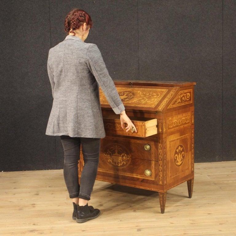 20th Century Walnut Maple Rosewood Inlaid Italian Louis XVI Style Bureau, 1960 For Sale 7
