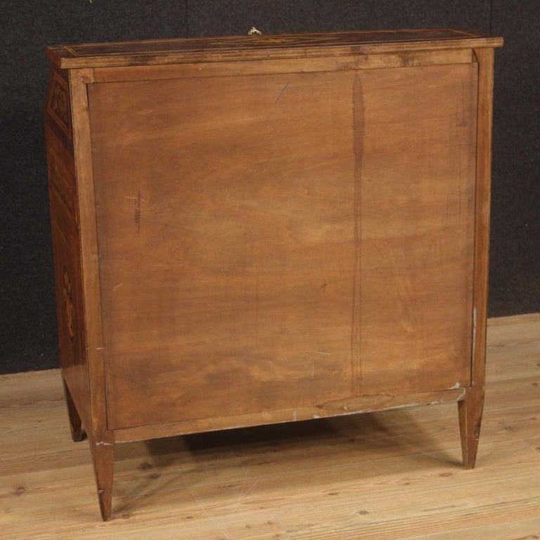 Fruitwood 20th Century Walnut Maple Rosewood Inlaid Italian Louis XVI Style Bureau, 1960 For Sale