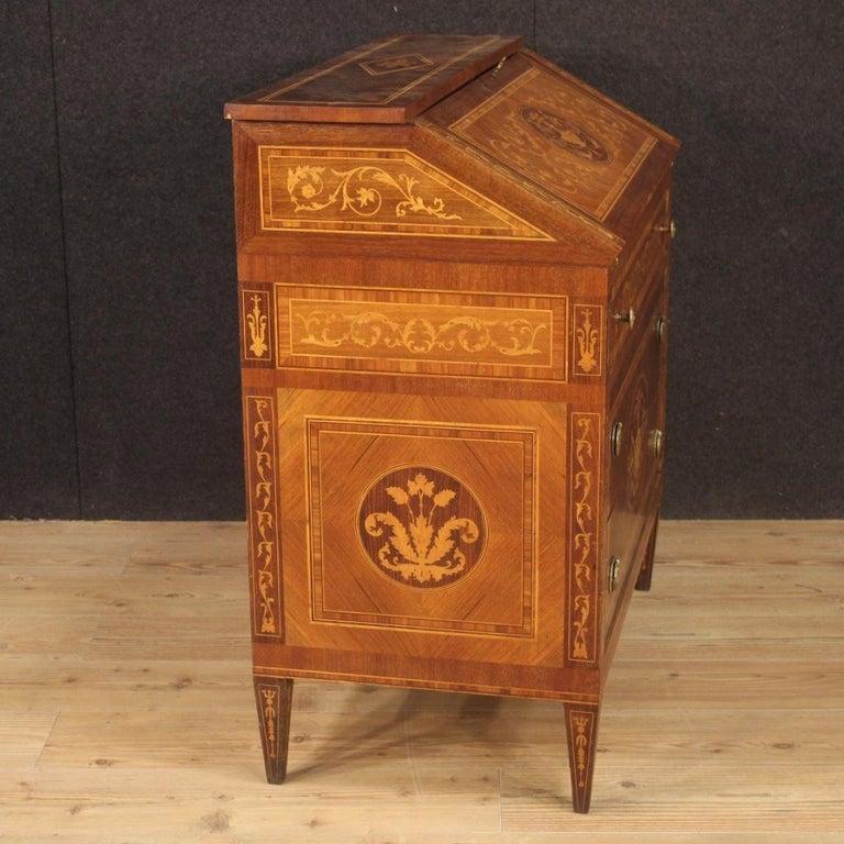 20th Century Walnut Maple Rosewood Inlaid Italian Louis XVI Style Bureau, 1960 For Sale 1