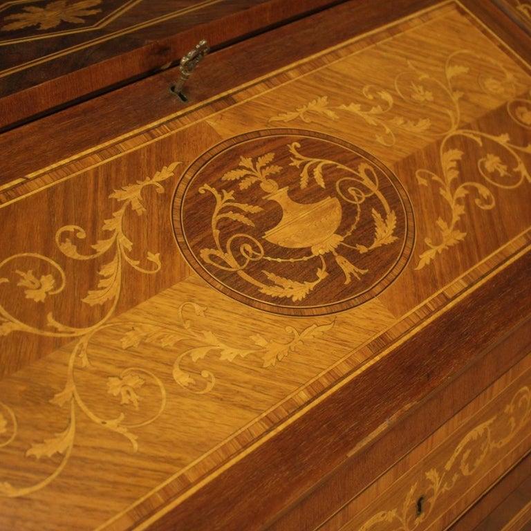 20th Century Walnut Maple Rosewood Inlaid Italian Louis XVI Style Bureau, 1960 For Sale 2