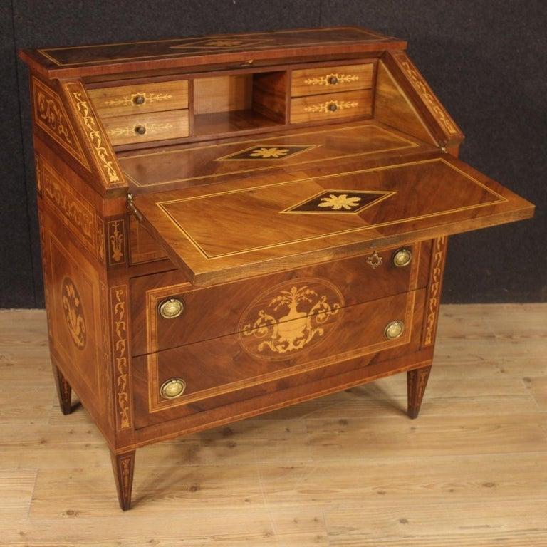 20th Century Walnut Maple Rosewood Inlaid Italian Louis XVI Style Bureau, 1960 For Sale 3