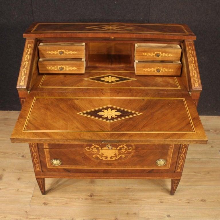 20th Century Walnut Maple Rosewood Inlaid Italian Louis XVI Style Bureau, 1960 For Sale 4