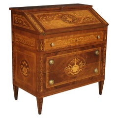 20th Century Walnut Maple Rosewood Inlaid Italian Louis XVI Style Bureau, 1960