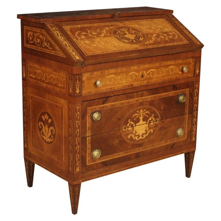 20th Century Walnut Maple Rosewood Inlaid Italian Louis XVI Style Bureau, 1960 For Sale