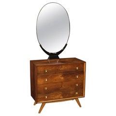 20th Century Walnut, Oak, Rosewood, Ebonized Wood Italian Dresser with Mirror