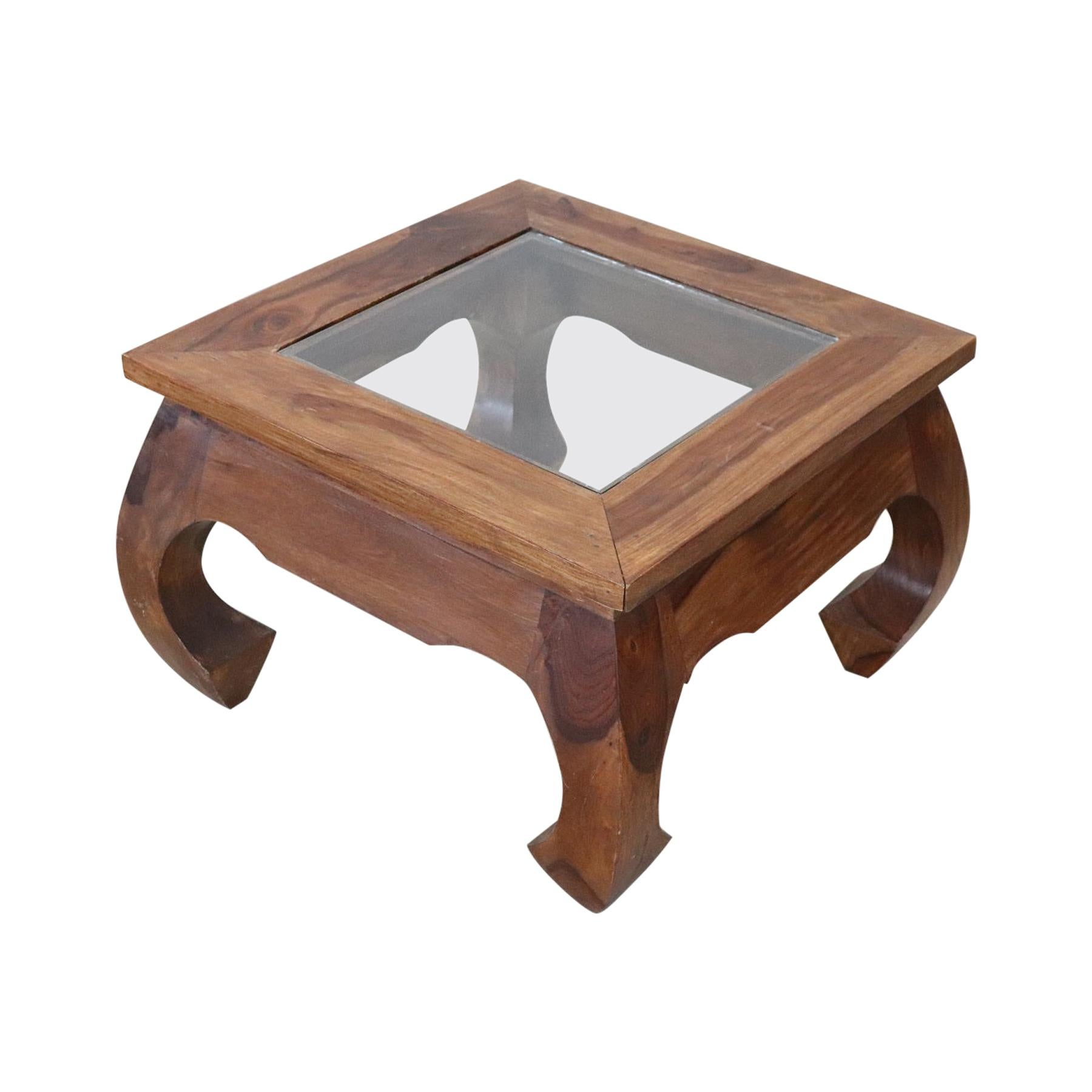 20th Century Walnut Square Coffee Table or Sofa Table with Glass Top