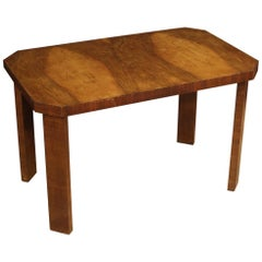 20th Century Walnut Wood Italian Art Deco Style Coffee Table, 1950