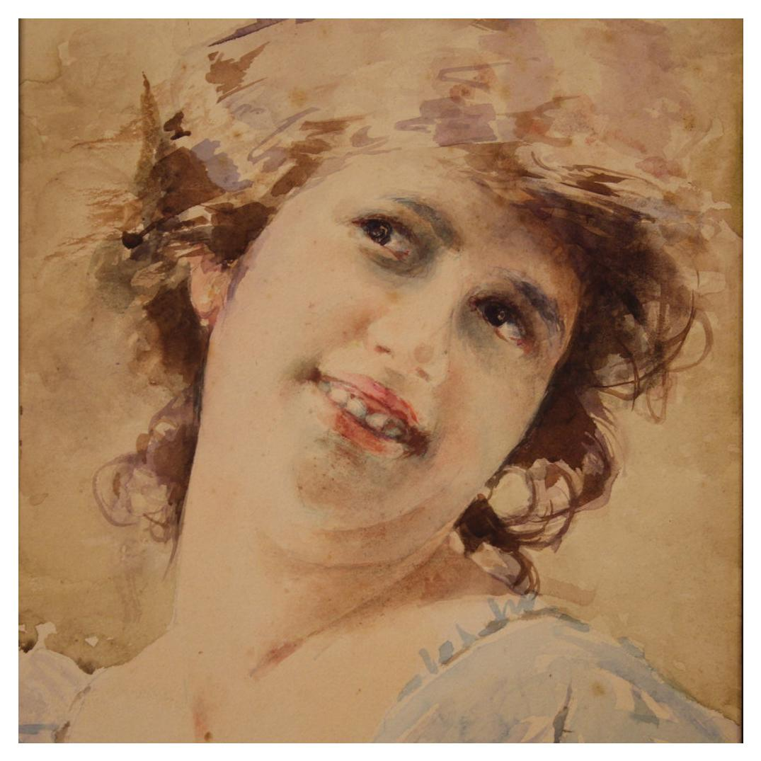 20th Century Watercolor on Cardboard Italian Painting Portrait of a Girl, 1920