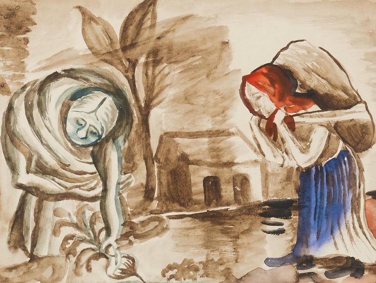 Ukrainian 20th Century Watercolor Painting by Russian Artist David Burliuk, 1932 For Sale