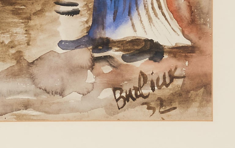 Hand-Painted 20th Century Watercolor Painting by Russian Artist David Burliuk, 1932 For Sale