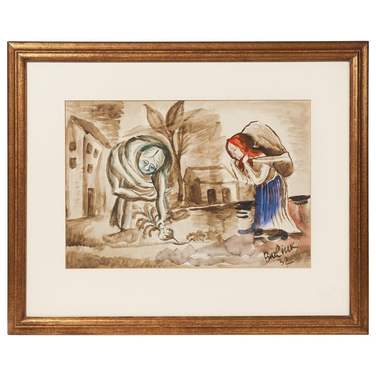 20th Century Watercolor Painting by Russian Artist David Burliuk, 1932 For Sale
