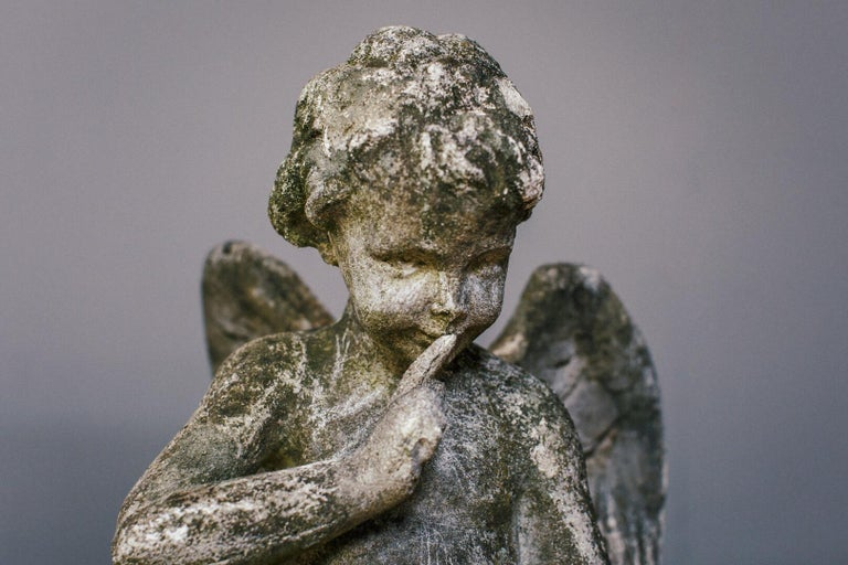 20th Century Weathered Angel Statue For Sale 9
