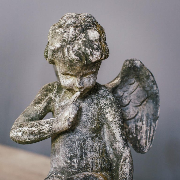20th Century Weathered Angel Statue For Sale 11