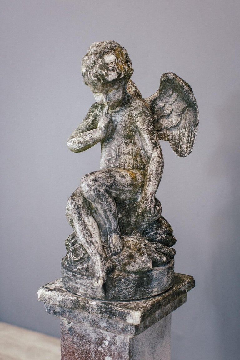 20th Century Weathered Angel Statue In Fair Condition For Sale In Pease pottage, West Sussex