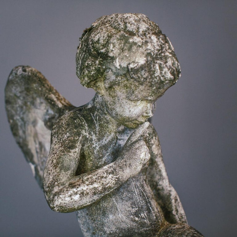 20th Century Weathered Angel Statue For Sale 1