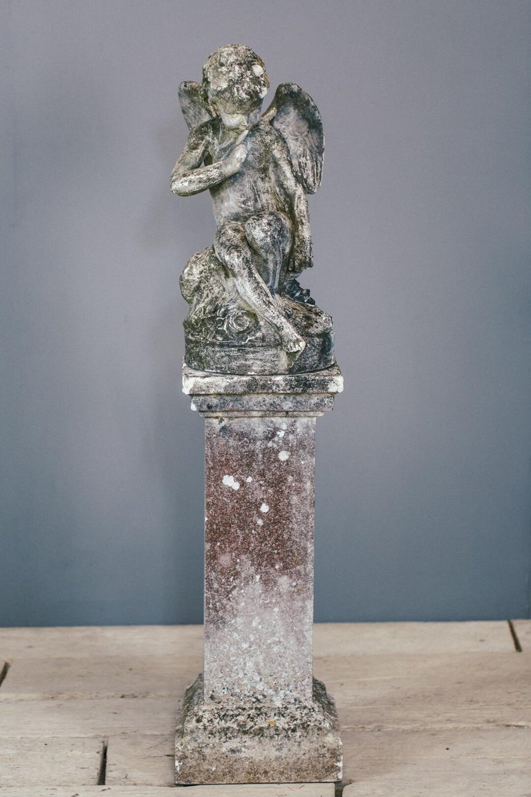20th Century Weathered Angel Statue For Sale 2