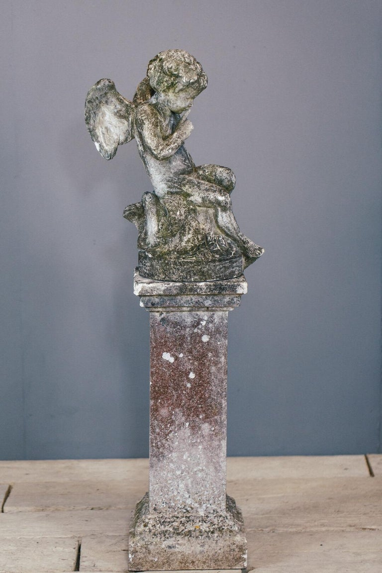 20th Century Weathered Angel Statue For Sale 3