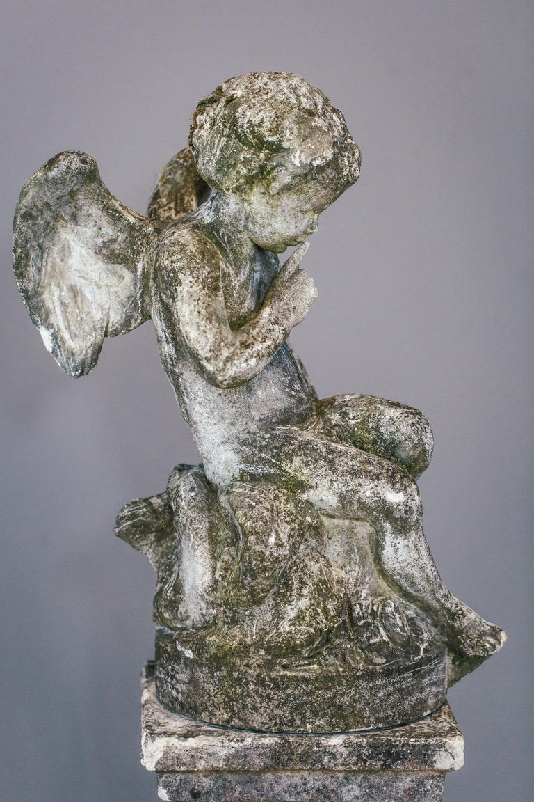 20th Century Weathered Angel Statue For Sale 4