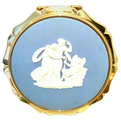 20th  Century Wedgood & Gilt Bronze Powder Compact by,  Stratton, England