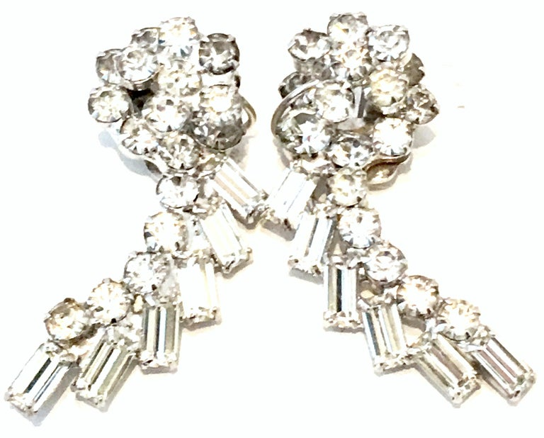 20th Century Weiss Style Pair Of Silver & Austrian Crystal Dimensional Earrings In Good Condition For Sale In West Palm Beach, FL