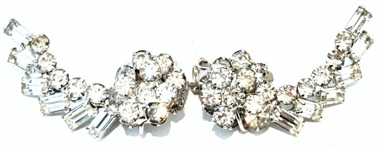 Women's or Men's 20th Century Weiss Style Pair Of Silver & Austrian Crystal Dimensional Earrings For Sale
