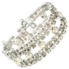 20th Century Weiss Style Silver & Swarovski Crystal Art Deco Style Bracelet