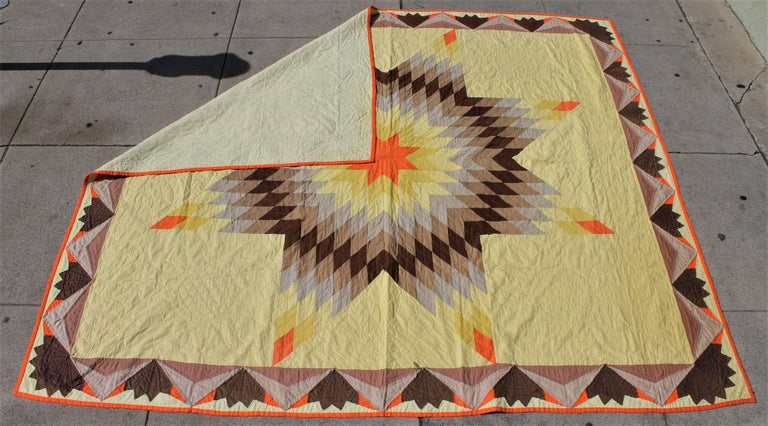 American 20th Century Western Eight Point Star Quilt For Sale