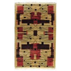 20th Century White and Red Turkish Art Deco Rug Designed, Zeki Muren, circa 1930