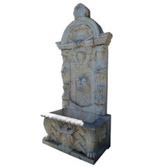 20th Century White Carrera Marble Wall Fountain