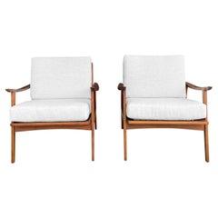 20th Century White-Grey Danish Pair of Open Teak Armchairs by Kai Kristiansen